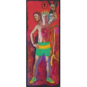Glauco Rodrigues (1929) - Meu Brasil Brasileiro (São Sebastião) - acrílica sobre tela - 250 x 100 cm - assinada no verso - 1986 - Com etiqueta Galeria São Paulo