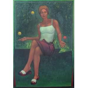 João Câmara Filho (1944) - Bilhar de três lados óleo sobre tela colada em madeira 160 x 110 cm assinada canto inferior direito e verso 2000 Estimativa: R$ 65.000 - 80.000