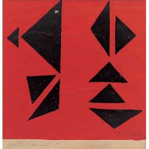 Judith Lauand (1922) - Sem título óleo sobre papel 10 x 10 cm assinada canto inferior esquerdo 1955 Acervo número 462. Estimativa: R$ 45.000 - 50.000