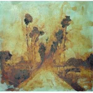 Daniel Senise (1955) - Sem título - Óleo e metal sobre tela - 127x 127 cm - assinada no verso - 1999