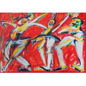 Ivald Granato (1949 - 2016) - Bailarinos - acrílica sobre tela - 140 x 200 cm - sem assinatura - 1993 - Com etiqueta Galeria Nara Roesler