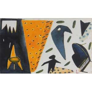 Leonilson (1957 - 1993) - Sem título - aquarela sobre cartão - 12 x 18,5 cm - assinada canto inferior direito Registro Projeto Leonilson PL.1088.0/00