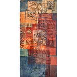 Roberto Burle Marx (1909 - 1994) - Sem título - pintura sobre tecido - 147 x 73 cm - assinada canto inferior direito - 1985