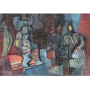 Roberto Burle Marx (1909 - 1994) - Sem título - pintura sobre tecido - 108 x 157 cm - assinada canto inferior direito - 1989