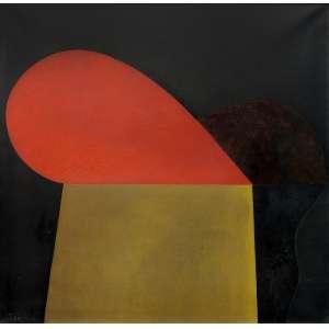 Tomie Ohtake (1913 - 2015) - Sem título - óleo sobre tela - 95 x 95 cm - assinada canto inferior esquerdo e verso - 1977 - Registrada no Instituto Tomie Ohtake sob nº P77-012.