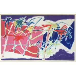 Luiz Aquila (1943) - A pintura, o retângulo rosa e o zig zag - acrílica sobre tela - 80 x 130 cm - assinada canto inferior direito e verso - 1995