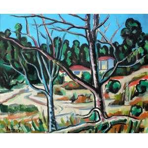Inimá De Paula (1918 - 1999) - Paisagem - acrílica e óleo sobre tela - 80 x 100 cm - assinada canto inferior esquerdo e verso - 1981