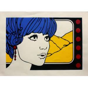 Claudio Tozzi (1944) - Sem título - pintura em acrílico sobre serigrafia - obra única - 50 x 70 cm - assinada canto inferior direito - 1969