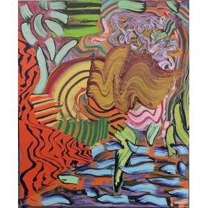 Henrique Oliveira (1973) - Girandaia - óleo e cera sobre tela - 120 x 100 cm - assinada no verso - 2011
