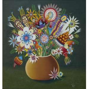 Roberto Magalhães (1940) - Flores - Óleo sobre tela - 50 x 50 cm - assinada canto inferior direito - 2001