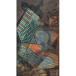 Roberto Burle Marx (1909 - 1994) - Sem título - pintura sobre tecido - 160 x 94 cm - assinada canto inferior direito - 1989