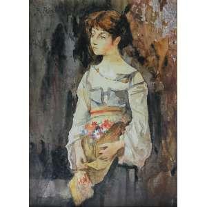 Rodolfo Amoêdo (1857 - 1941) - Menina - aquarela - 40 x 31 cm - assinada canto superior esquerdo