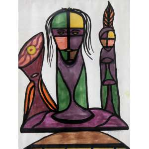 Antonio Manuel (1947) - Sem título - nanquim e aquarela - 26 x 21 cm - assinada canto inferior direito - 1964
