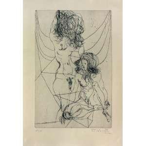 Flavio De Carvalho ( 1899 - 1973 ) Sem título - gravura em metal 124/150 - 37 x 26 cm - assinada canto inferior direito - 1972