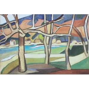 Aldo Bonadei ( 1906 - 1973 ) Paisagem - óleo sobre tela - 55 x 81 cm - assinada canto inferior direito - 1971