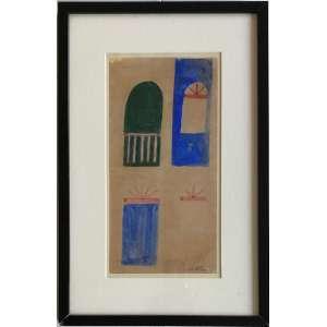 Alfredo Volpi ( 1896 - 1988 ) Fachada - têmpera sobre papel - 16 x 31,5 cm - assinada canto inferior direito - década 50