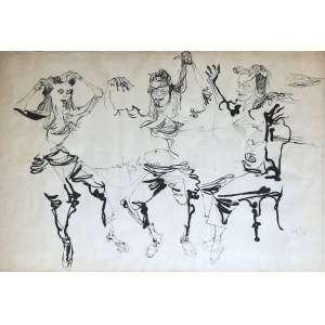 Flavio De Carvalho ( 1899 - 1973 ) Sem título - nanquim - 70 x 100 cm - canto superior direito - 1955