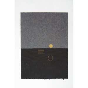 Mira Schendel ( 1919 - 1988 ) Sem título - ecoline e ouro sobre papel japonês - 30 x 22 cm - não assinada