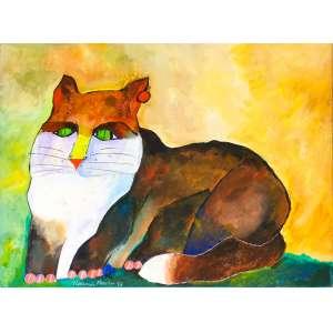 Aldemir Martins ( 1922 - 2006 ) Sem título, Gato - óleo sobre tela - 60 x 81 cm - assinada canto inferior esquerdo e verso - 1999