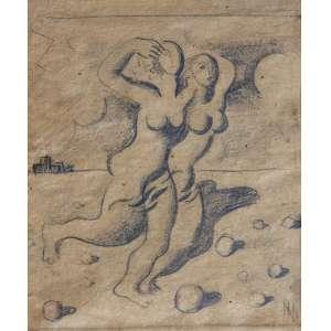 Ismael Nery ( 1900 - 1934 ) Duas mulheres - grafite - 15,5 x 13 cm - assinada canto inferior direito