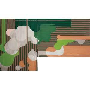 Tatiana Blass ( 1979 ) Listrado verde - acrílica sobre tecido - 110 x 81 cm e 81 x 110 cm diptico - assinada no verso - 2008