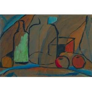 Aldo Bonadei ( 1906 - 1973 ) Jarros e frutas - técnica mista sobre cartão - 34 x 49 cm - assinada canto inferior esquerdo - 1966