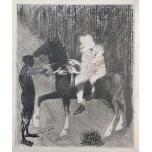 Candido Portinari (1903 - 1962) - Meninos a Cavalo - desenho a grafite - estudo para água forte - 24 x 20 cm - assinada canto inferior esquerdo - 1959 - Registrado no Projeto Portinari.