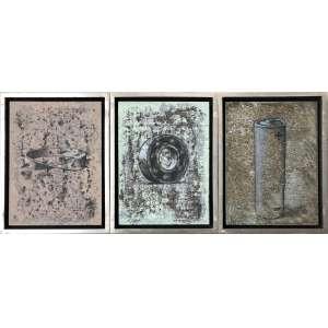 Sergio Niculitcheff (1960) - Sem título - acrílico sobre papel, triptico - 43 x 33 x 4cm cada - 2001