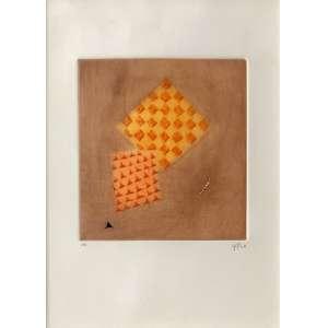 Arthur Luiz Piza - (1928 - 2017) - Affrontement des oranges - goiva e ponta seca a cores sobre papel - EA - 20 x 18,5 cm (tamanho do papel: 37 x 27 cm) - assinada canto inferior direito