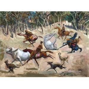 Carybé - (1911 - 1997) - Vaqueiros - óleo sobre cartão especial para pintura - 45,5 x 61 cm - assinada canto inferior direito - 1979