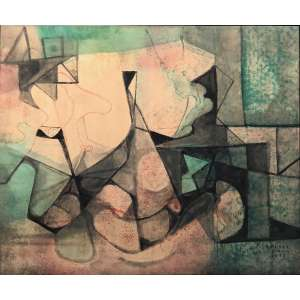 Roberto Burle Marx - (1909 - 1994) - Sem título - pintura sobre tecido - 125 x 150 cm - assinada canto inferior direito - 1978