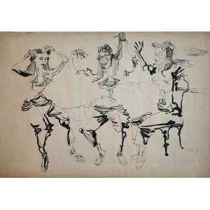 Flavio De Carvalho - (1899 - 1973) - Sem título - nanquim - 70 x 100 cm - assinada canto superior direito - 1955