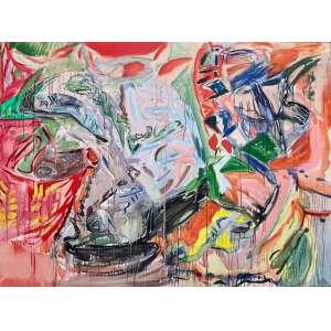 Jorge Guinle Filho - (1947 - 1987) - Expectativa da nêspera- óleo sobre tela - 150,5 x 200 cm - assinada canto inferior direito, (1982).Com etiqueta Museu de Arte Moderna do Rio de Janeiro.