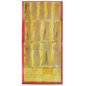 Ivald Granato - (1949 - 2016) - Sem título - acrílica e lápis de cera sobre papel - 65 x 32 cm - assinada canto inferior direito - 1979