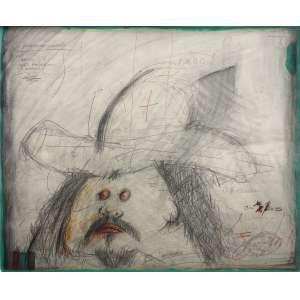 Ivald Granato - (1949 - 2016) - Arteprecária - grafite, guache e lápis de cor - 44 x 54 cm - assinada canto inferior direito
