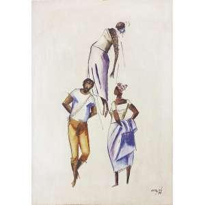 Carybé - (1911-1997) - Figuras - têmpera vinílica - 49 x 34 cm - assinada canto inferior direito, 1979