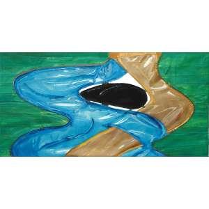 Leda Catunda - (1961) - Rio Azul e Rio Dourado - acrílica sobre tela e plástico - 75 x 145,5 cm - assinada no verso - 2000 - Com etiqueta Galeria Fortes Vilaça.