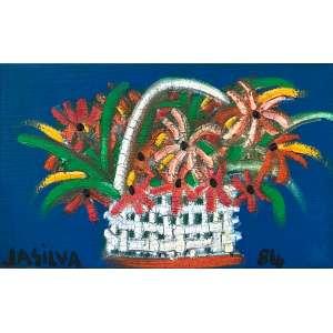 José Antonio Da Silva - (1909 - 1996) - Cesta de flores - óleo sobre tela - 22,5 x 36,5 cm - assinada canto inferior direito - 1984