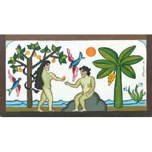 Miriam Ines Da Silva - (1939 - 1996) - Adão e Eva - óleo sobre madeira - 27 x 50,5 cm - assinada lado direito - 1982