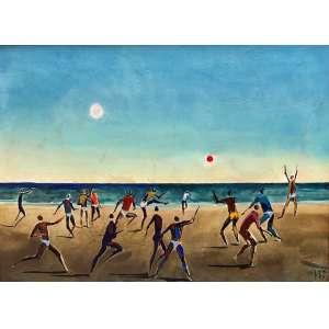 Carybé - (1911 - 1997) - Futebol na praia - têmpera vinílica sobre cartão colado em placa - 35 x 50 cm - assinada canto inferior direito - 1984