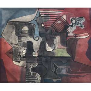 Roberto Burle Marx - (1909 - 1994) - Sem título - pintura sobre tecido - 130 x 157 cm - assinada canto inferior direito - 1988