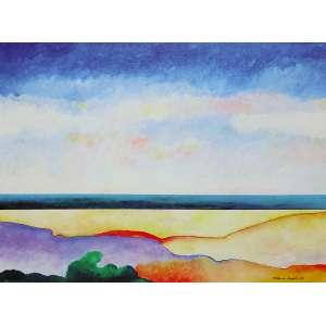 Aldemir Martins - (1922 - 2006) - Paisagem - acrílica sobre tela - 60 x 81 cm - assinada canto inferior direito e dorso - 1985