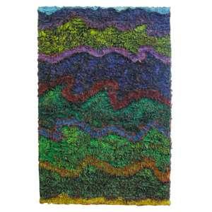 Leda Catunda - 1961 - O mar II - acrílica sobre tecido - 180 x 120 cm - assinada no verso - 1988 - Com etiqueta Galeria Luisa Strina. - Participação: Exposição Fundação Calouste Gulbenkian - Lisboa.