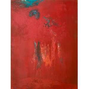 Manabu Mabe - (1924 - 1997) - Fogo de meio dia - óleo sobre tela - 100 x 75 cm - assinada canto inferior esquerdo e verso - 1966
