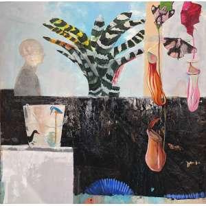 Luiz Zerbini - 1959 - Rio de Janeiro - acrílica sobre tela - 170 x 170 cm - assinada no verso - 1996