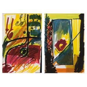 Leonilson - (1957 - 1993) - Dois Desenhos / hidrográfica sobre papel.<br /><br />1 - Sem título - Desenho / hidrográfica sobre papel - 31,2 x 21,2 cm - sem assinatura - c. 1981 - Registrada no Projeto Leonilson sob nº PL.2943.0/00. - Reprodução: Catálogo Raisonné, Vol II, página 35.<br /><br />2 - Sem título - Desenho / hidrográfica sobre papel - 31,2 x 21,2 cm - sem assinatura - c.1981 - Registrada no Projeto Leonilson sob nº PL.2941.0/00. - Reprodução: Catálogo Raisonné, Vol II, página 35.<br />