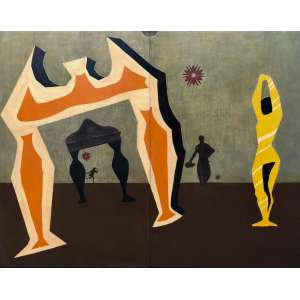 Clovis Graciano - (1907 - 1988) - Sem título - óleo sobre madeira - 99 x 125 cm - sem assinatura