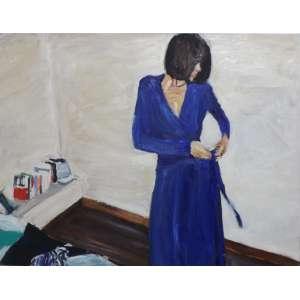 John Nicholson<br>Pequeno quadro com a figura em azul cobalto<br>Oleo sobre tela - 2007 - 50 x 65 - Assinado inferior direito - Assinado e datado 2007
