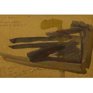 Artur Barrio<br>Paisagem Sulfurosa ao final do século XX??<br>Desenho sobre madeira - déc. 80 - 21 x 31 - Assinado superior esquerco