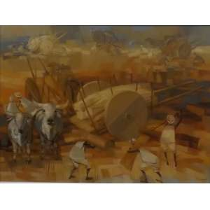 Enrico Bianco<br>Colheita de trigo<br>Óleo sobre Eucatex - 1982 - 60 X 50 - Assinado e Datado